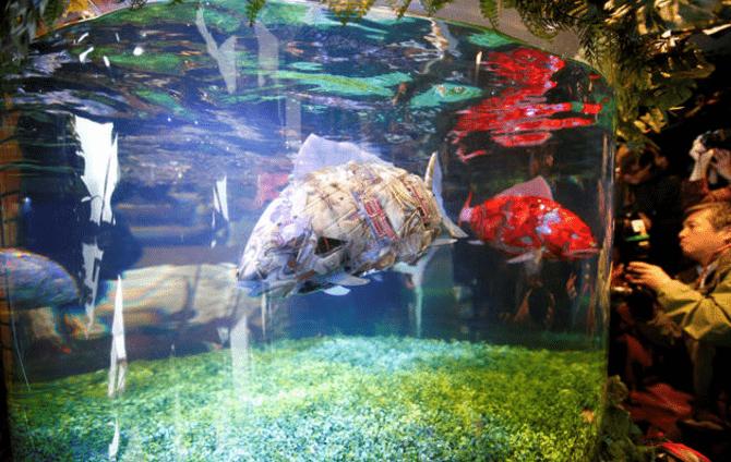 Аквариумные рыбы — роботы из Японии.